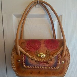 Vintage 50s 60 Mexican Hand Tooled Leather Handbag